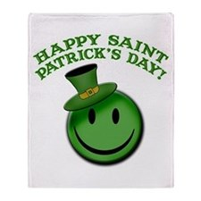 St. Patrick's Day Happy Face Throw Blanket