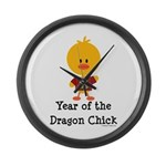 Year of the Dragon Chick Large Wall Clock