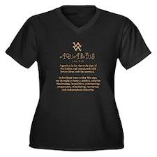 Aquarius Women's Plus Size V-Neck Dark T-Shirt