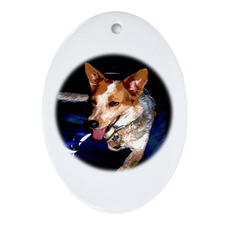 Red Heeler Oval Ornament