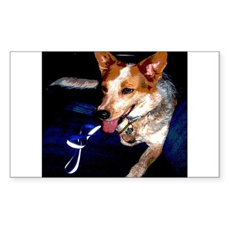 Red Heeler Rectangle Sticker