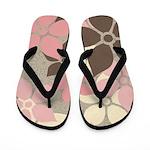 Pink, Brown, Cream Flowered Flip Flops