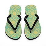 Mint and Yellow Design Flip Flops