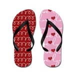 Pink and Red Love Notes Flip Flops