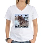 Wolf YNP, Wyoming Women's V-Neck T-Shirt