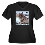 Wolf YNP, Wyoming Women's Plus Size V-Neck Dark T-