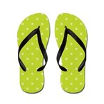 Lime Polka Dots Flip Flops