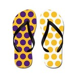 Yellow and Purple Polka Dots Flip Flops