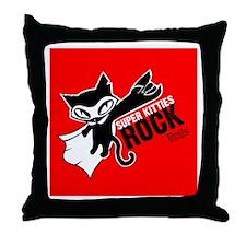 Super Kitties Rock Throw Pillow