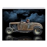 Rat Rods On Black Wall Calendar
