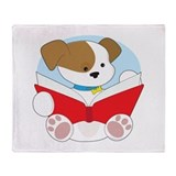 Cute Puppy Reading Throw Blanket