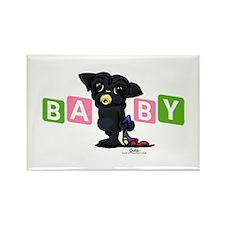 Girl baby PUG black Rectangle Magnet
