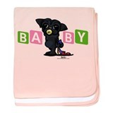 Girl baby PUG black baby blanket