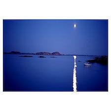 Sweden, Bohuslan, night, full moon