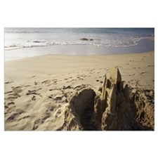 Hawaii, Big Island, Hapuna Beach, Sandcastle on th