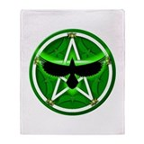 Crow Pentacle - Green - Throw Blanket