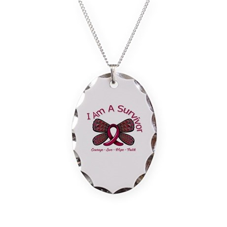 Multiple Myeloma Survivor Necklace Oval Charm