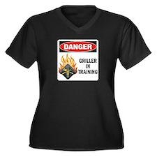 Griller Women's Plus Size V-Neck Dark T-Shirt