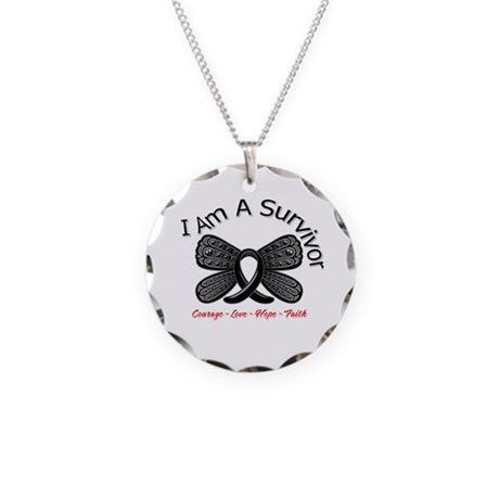 Melanoma I'm A Survivor Necklace Circle Charm