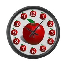Red Apple Fruit Large Wall Clock