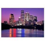 Texas, Austin, View of an urban skyline at night