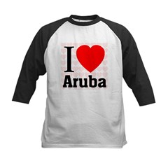 I Love Aruba Kids Baseball Jersey