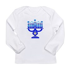 Blue Menorah Long Sleeve Infant T-Shirt
