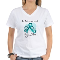 In Memory Peritoneal Cancer Women's V-Neck T-Shirt