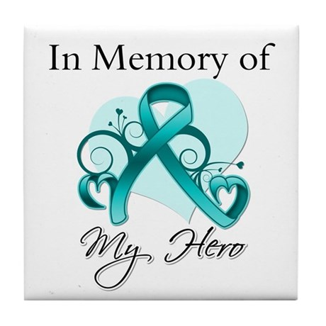 In Memory Peritoneal Cancer Tile Coaster