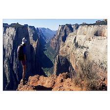 Hiker Observation Point Zion National Park UT