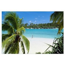 Woman Beach One Foot Island Cook Islands