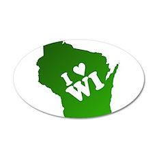 I heart Wisconsin 38.5 x 24.5 Oval Wall Peel