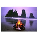 Bonfire on the beach, Point Of The Arches, Shi-Shi