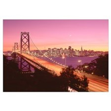 California, San Francisco, Bay Bridge at dusk