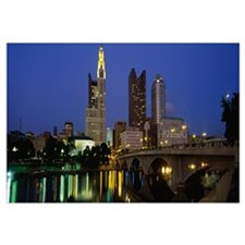 Buildings lit up at night, Columbus, Scioto River,