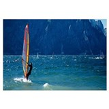 Side profile of a person windsurfing, Lake Garda,