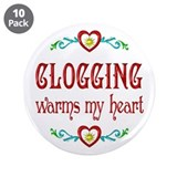 "Clogging Warms My Heart 3.5"" Button (10 pack)"