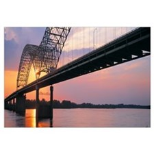 Sunset Hernandez DeSoto Bridge and Mississippi Riv