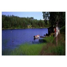 Lake with Cabin and Boat, near Falun, Dalarna, Swe