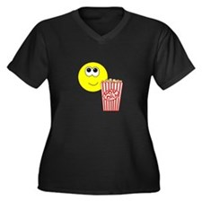 Smilie Face Popcorn Women's Plus Size V-Neck Dark