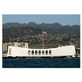 The Ensign flies over the Arizona Memorial
