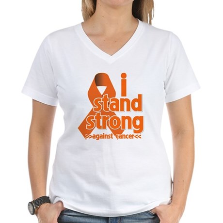 Stand Strong Kidney Cancer Women's V-Neck T-Shirt