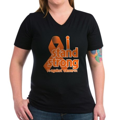 Stand Strong Kidney Cancer Women's V-Neck Dark T-S