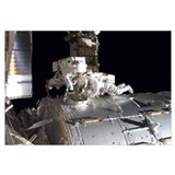 Astronauts participate in extravehicular activity
