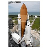 Space shuttle Atlantis sits on the top of Launch P
