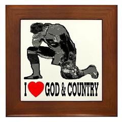 I Love God & Country Framed Tile