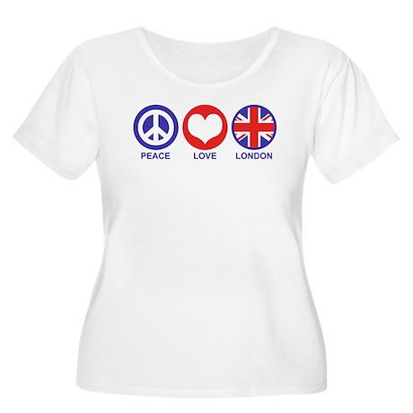 Peace Love London Women's Plus Size Scoop Neck T-S
