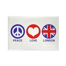 Peace Love London Rectangle Magnet
