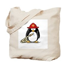 Fireman penguin Tote Bag