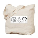 peace, love. mama milk Tote Bag